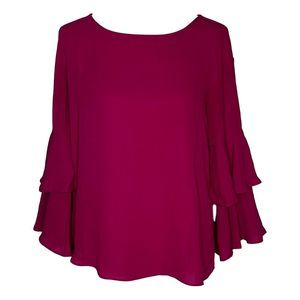 New York & Company Fuchsia Ruffle Top